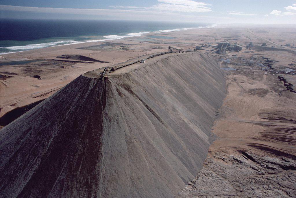 Diamond mining dirt mounds, Namibia : Stock Photo