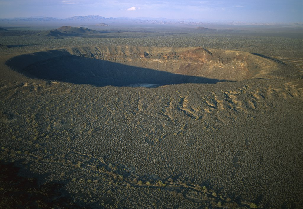 Stock Photo: 4201-74313 El Elegante Crater is 1400 meters wide and 140 meters deep, El Pinacate, Gran Desierto de Altar Biosphere Reserve, Sonora, Mexico