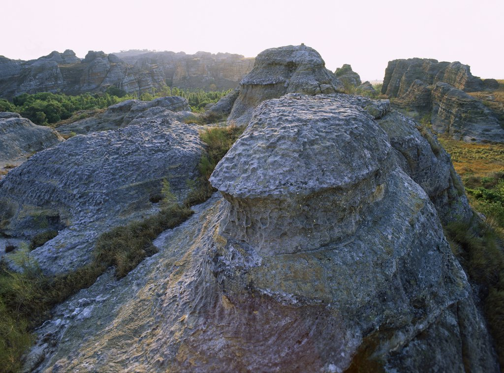 Rock formation from Jurassic period, stones known as ruiniforms sculpted by wind and water, Isalo National Park (81 540 hectares) established in 1962, South West Madagascar : Stock Photo