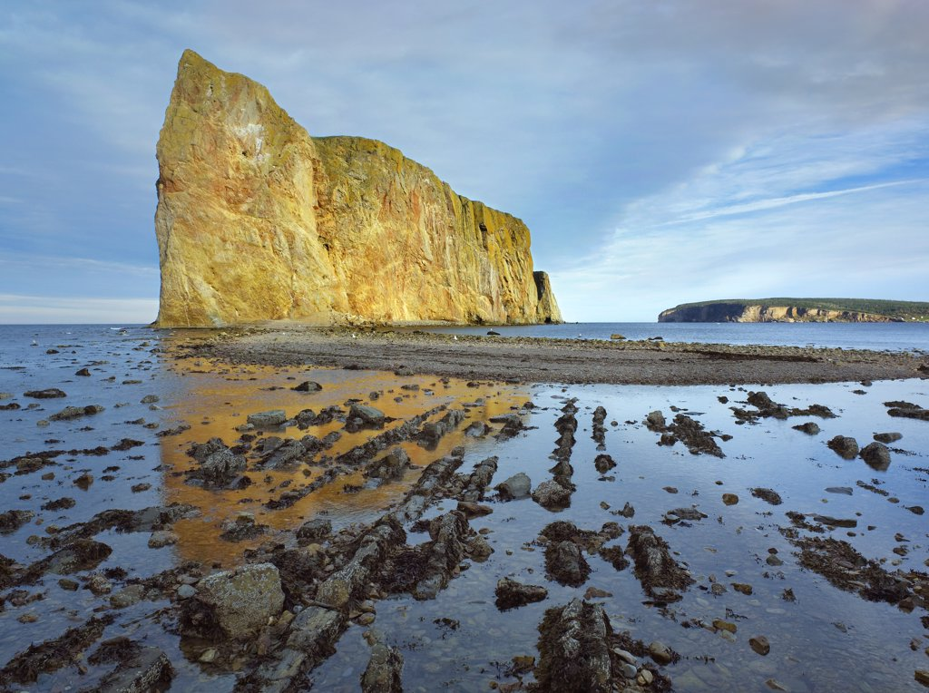 Coastline and Perce Rock, a limestone formation, at low tide, Quebec, Canada : Stock Photo