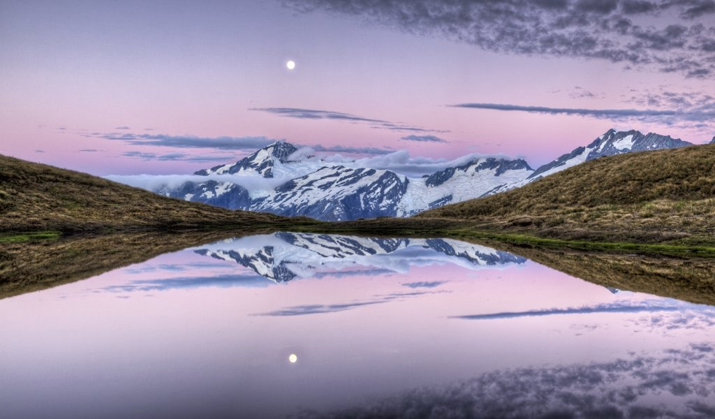 Stock Photo: 4201-82165 Mount Aspiring, moonrise at dusk over Cascade Saddle, Mount Aspiring National Park, New Zealand