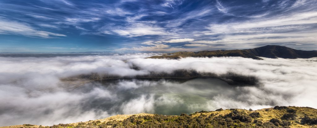 Stock Photo: 4201-82195 Lake Forsyth shrouded in clouds, Banks Peninsula, Canterbury, New Zealand