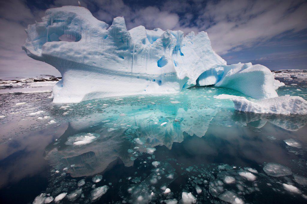 Iceberg, Penola Strait, Antarctic Peninsula, Antarctica : Stock Photo