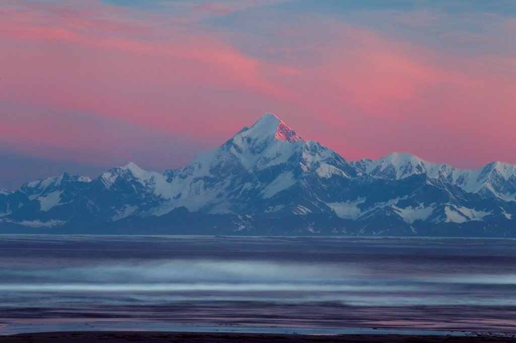 Mount Saint Elias rising above Yakutat Bay at sunrise, Wrangell St. Elias National Park, Alaska : Stock Photo