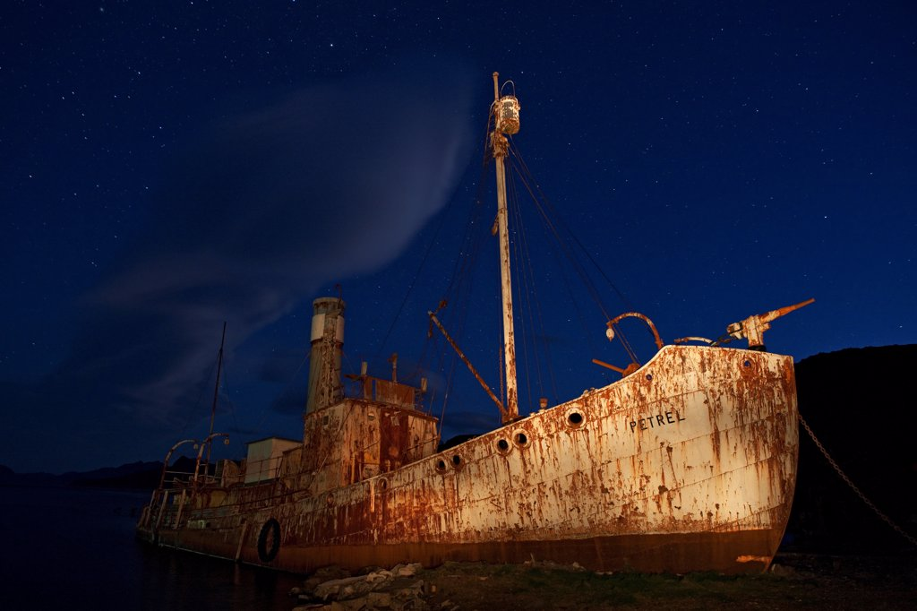 Stock Photo: 4201-90576 Abandoned whaling vessel at night, Grytviken, South Georgia Island