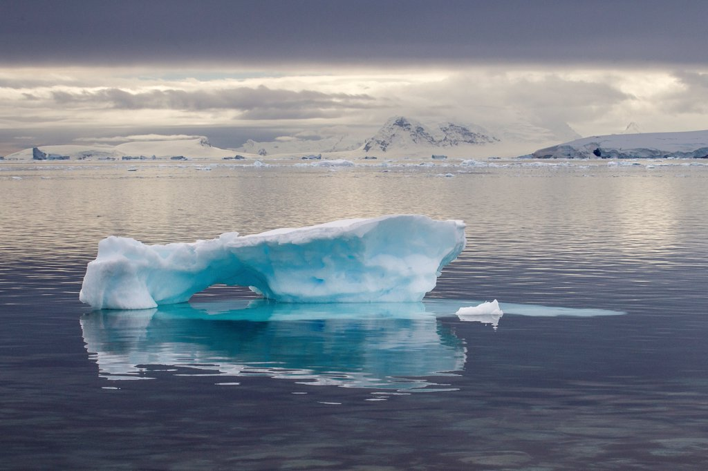 Stock Photo: 4201-99690 Iceberg, Gonzalez Videla Antarctic Base, Paradise Bay, Antarctic Peninsula, Antarctica