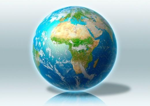 Stock Photo: 4208R-11439 globe, world, clouds, grey, reflection