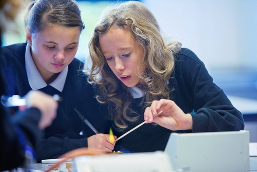Girls experimenting with Bunsen burner in science class : Stock Photo