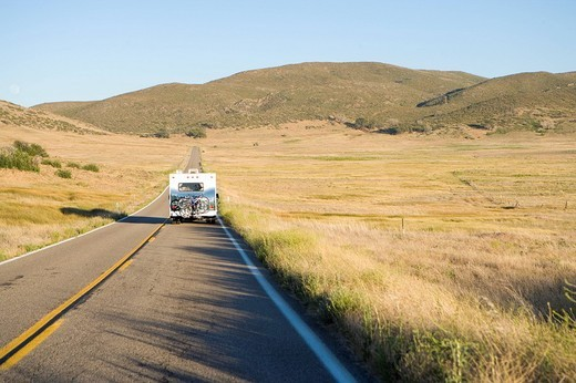 Motor home on road, elevated view : Stock Photo