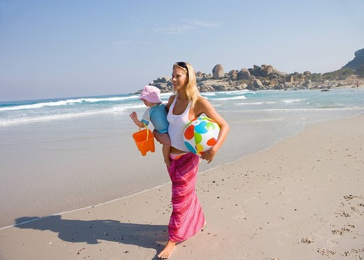 Stock Photo: 4208R-1497 Mother walking on beach with daughter 12_15 months, smiling