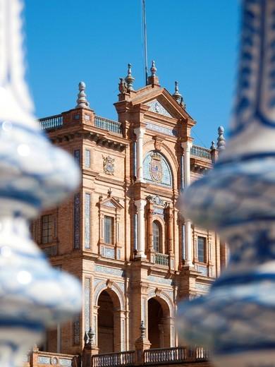 Ornate building in Plaza de Espana, Seville, Spain : Stock Photo
