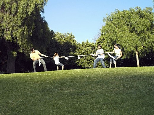 Two generation family playing tug-of-war on grass in park, side view : Stock Photo