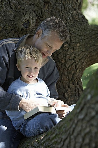 Father and son 3-5 sitting in tree, reading book, smiling : Stock Photo