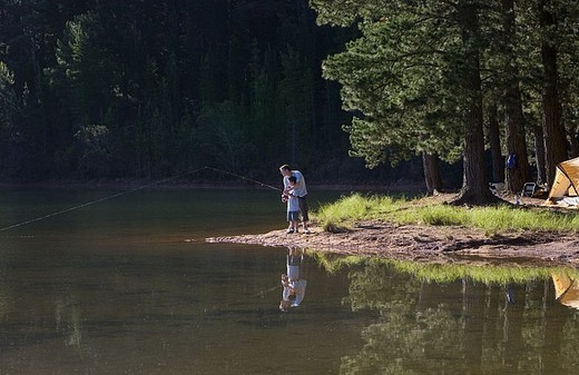 Stock Photo: 4208R-17365 Father and son 8-10, in mid-distance, fishing in lake on camping trip, side view