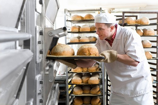 Stock Photo: 4208R-20626 Baker removing fresh loaves of bread from oven