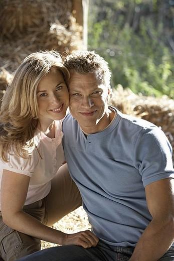 Couple cheek to cheek, smiling, portrait : Stock Photo