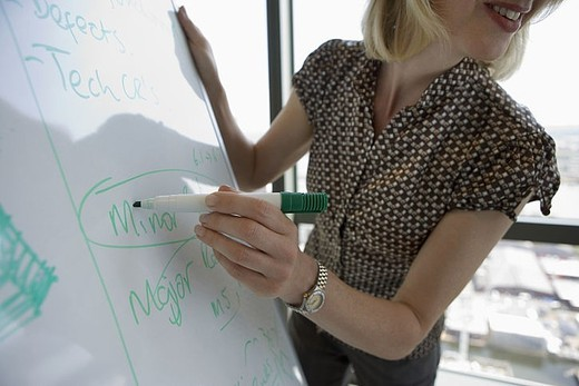 Businesswoman giving presentation, circling word on whiteboard with pen, close-up, side view : Stock Photo