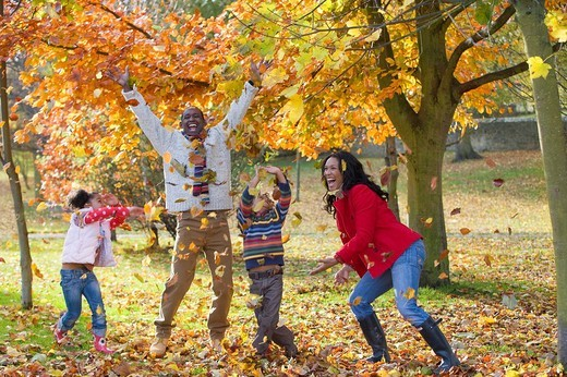 Laughing family playing with autumn leaves outdoors : Stock Photo