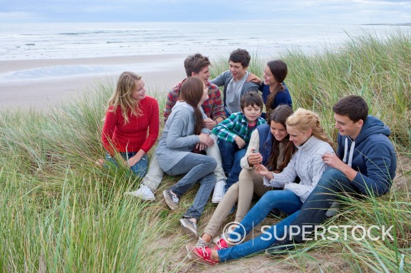 Stock Photo: 4208R-30622 Teenage friends hanging out in grass on beach