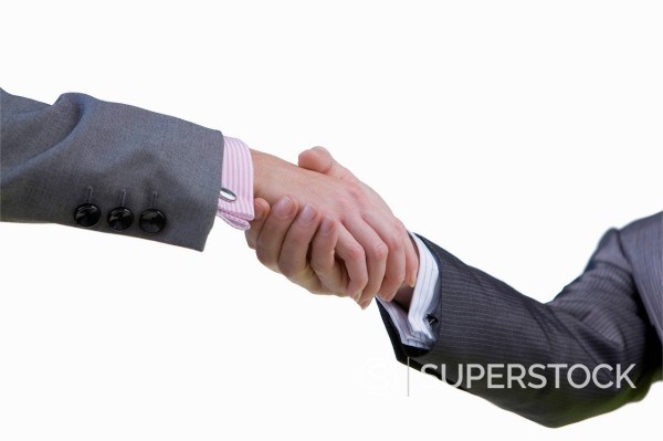 Stock Photo: 4208R-30709 Cut Out Of Two Male Executives Shaking Hands