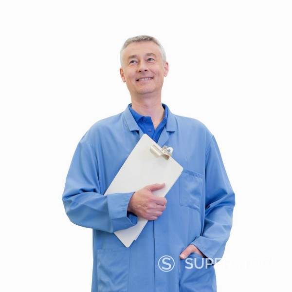 Stock Photo: 4208R-30733 Cut Out Of Male Factory Worker With Clipboard