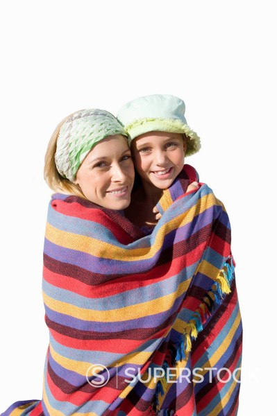 Stock Photo: 4208R-30818 Cut Out Of Mother Wrapping Son In Towel