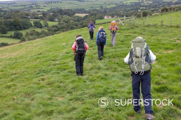 Stock Photo: 4208R-32332 Girls with backpacks walking in field