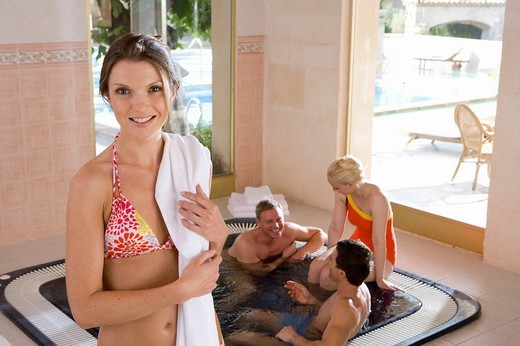 Couples in hot tub : Stock Photo
