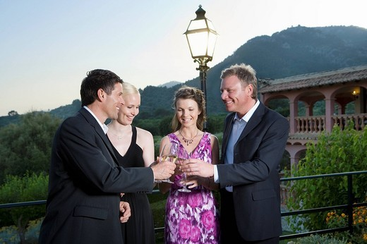 Well_dressed couples toasting champagne flutes on balcony : Stock Photo
