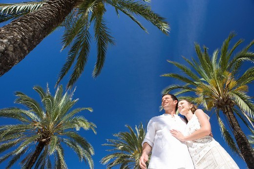 Smiling couple hugging under palm trees : Stock Photo