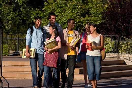 Stock Photo: 4208R-6336 Students outdoors, smiling
