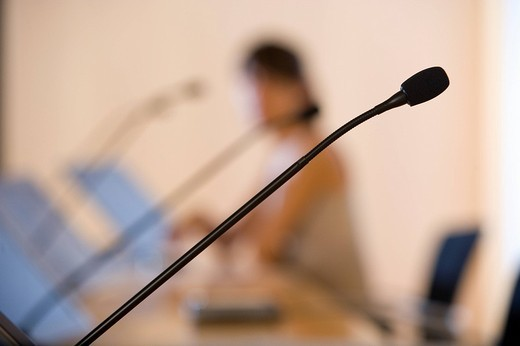 Close up of conference microphone : Stock Photo