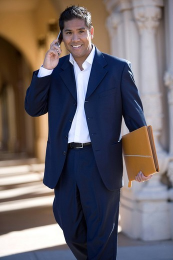 Businessman talking on cell phone outdoors : Stock Photo