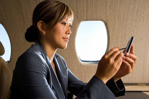 Stock Photo: 4208R-9361 Businesswoman using electronic organiser on aeroplane, smiling, side view