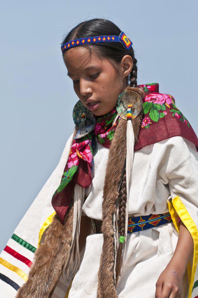 Native American girl in traditional dress, Blackfoot Crossing Historical Park, Alberta, Canada : Stock Photo
