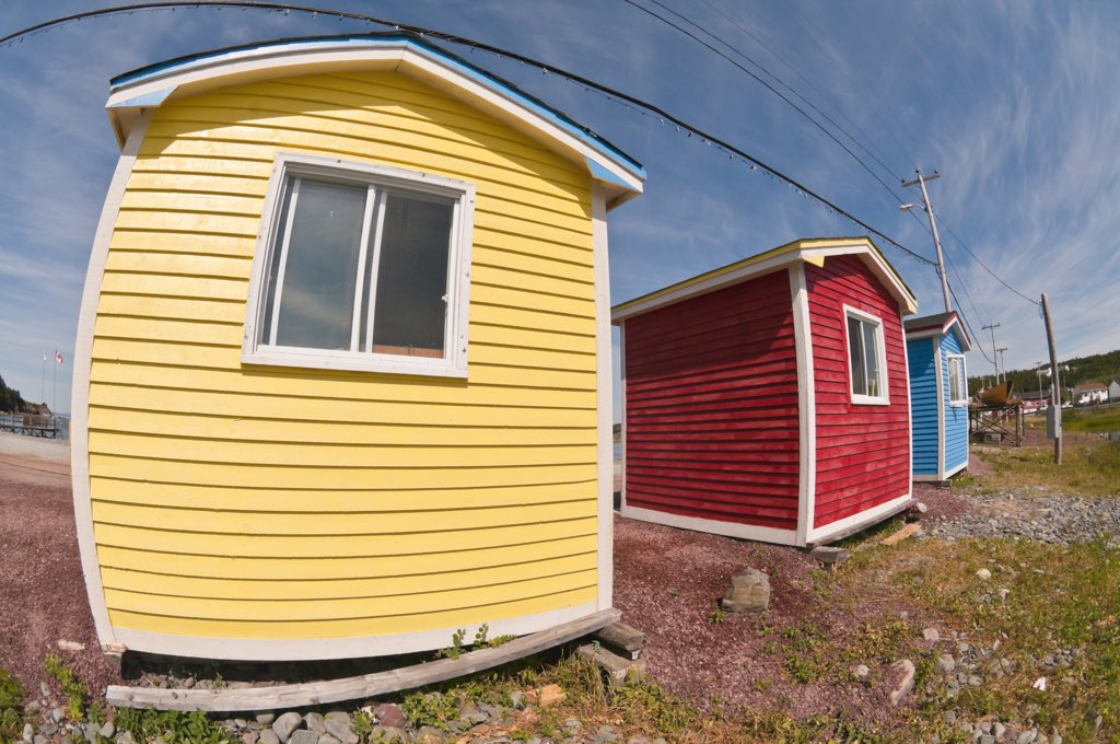 Stock Photo: 4215-172 Beach huts on the beach, Cavendish, Trinity Bay, Trinity, Newfoundland and Labrador, Canada