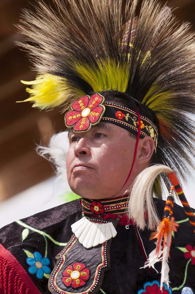 Stock Photo: 4215-324 Male dancer in traditional regalia in 2nd Annual World Chicken Dance Championships, Blackfoot Crossing Historical Park, Alberta, Canada