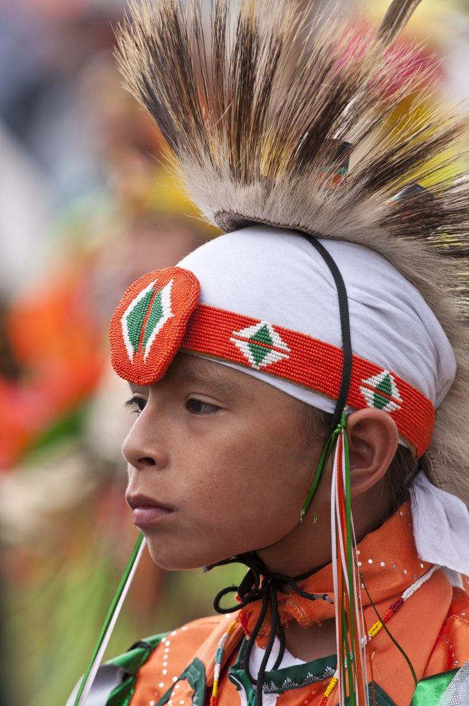 Stock Photo: 4215-425 Boy in traditional regalia in Tsuu T'ina Pow-wow, Bragg Creek, Alberta, Canada