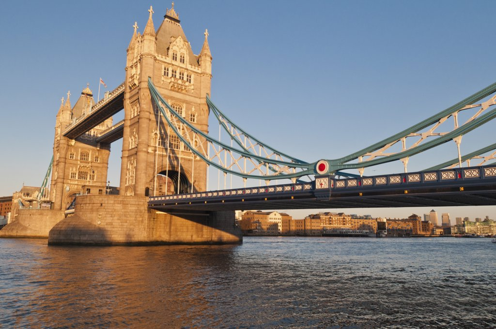 Stock Photo: 4215-442 Tower Bridge across the Thames River at sunset, London, England