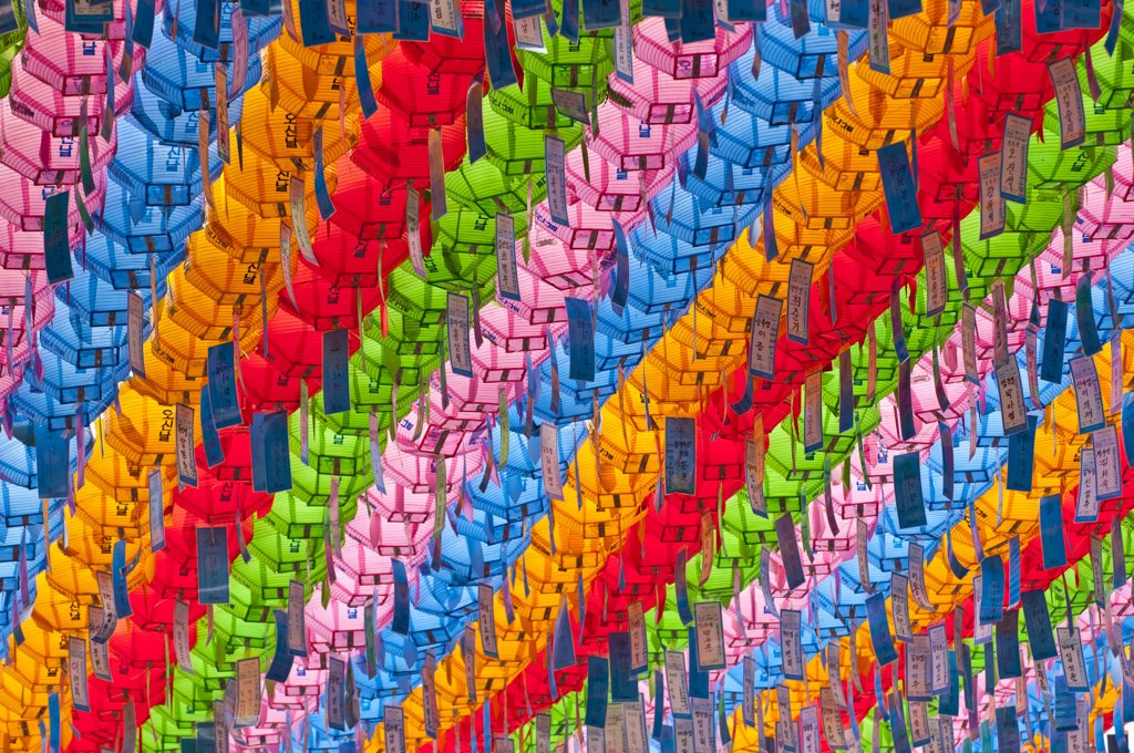 Stock Photo: 4215-456 Colorful lanterns at a Buddhist temple, Jogyesa Temple, Seoul, South Korea