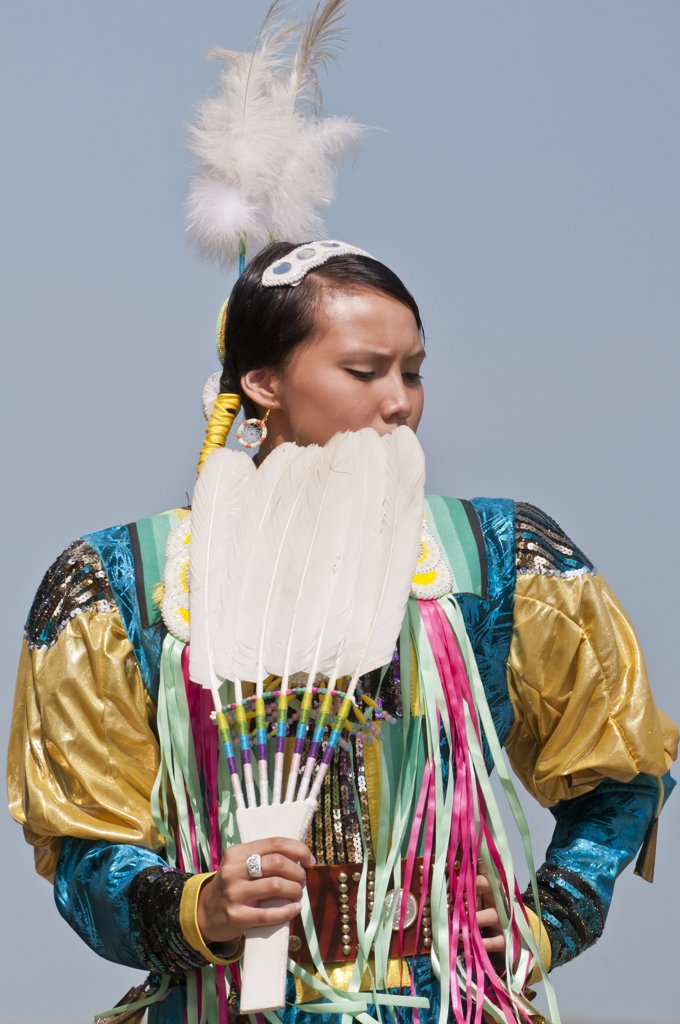 Stock Photo: 4215-466 Female dancer in jingle dance regalia at pow-wow, Blackfoot Crossing Historical Park, Alberta, Canada