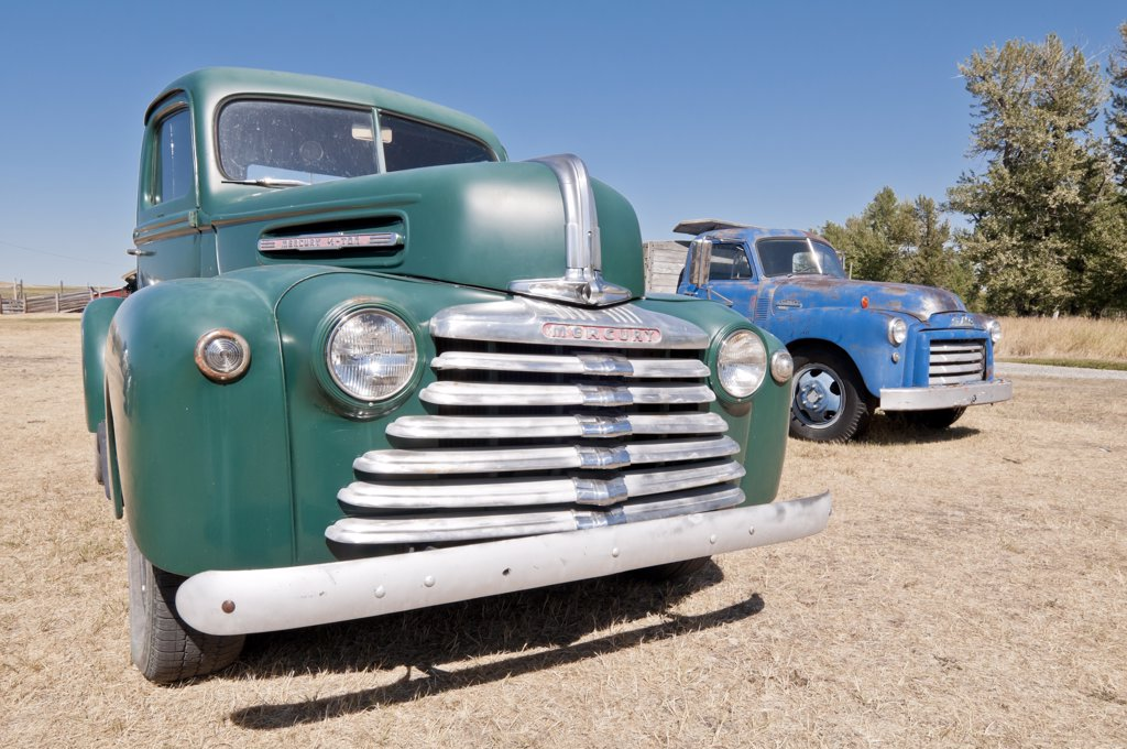 Stock Photo: 4215-527 1947 Mercury 1/2 ton trucks in a ranch, Bar U Ranch National Historic Site, Longview, Alberta, Canada