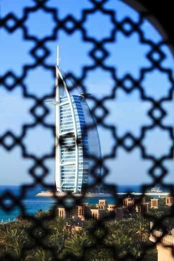 Stock Photo: 4219-118 Hotel viewed through a traditional Arabian lattice window, Burj Al Arab Hotel, Jumeirah, Dubai, United Arab Emirates