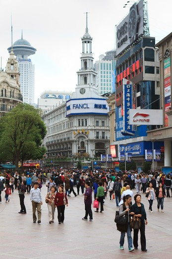 China, Shanghai, Shoppers on Nanjing Road East : Stock Photo