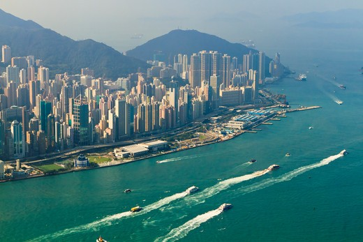 Stock Photo: 4219-190 China, Hong Kong, High view of Hong Kong Island skyline and Victoria harbour