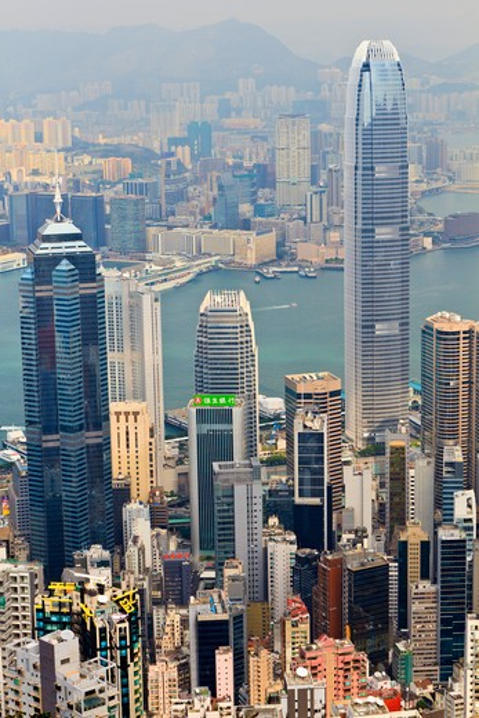 China, Hong Kong, Hong Kong skyline from Peak : Stock Photo