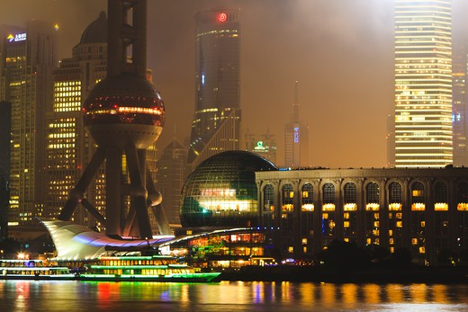 Stock Photo: 4219-197 City lit up at night, Oriental Pearl Tower, The Bund, Pudong, Huangpu River, Shanghai, China