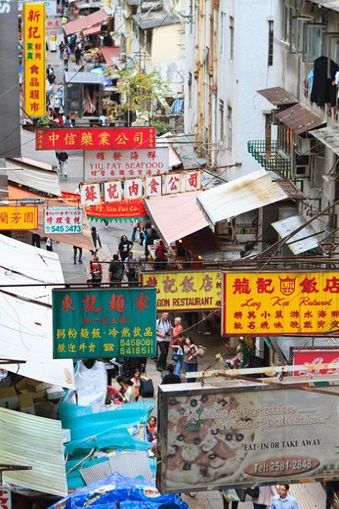 Stock Photo: 4219-206 High angle view of a narrow street, Hong Kong, China