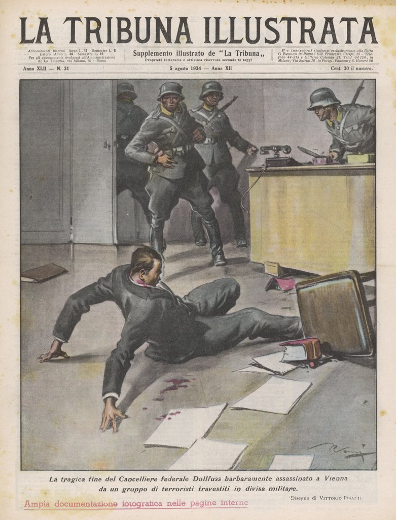 The assassination of  Chancellor Engelbert Dollfuss  by Austrian Nazis : Stock Photo