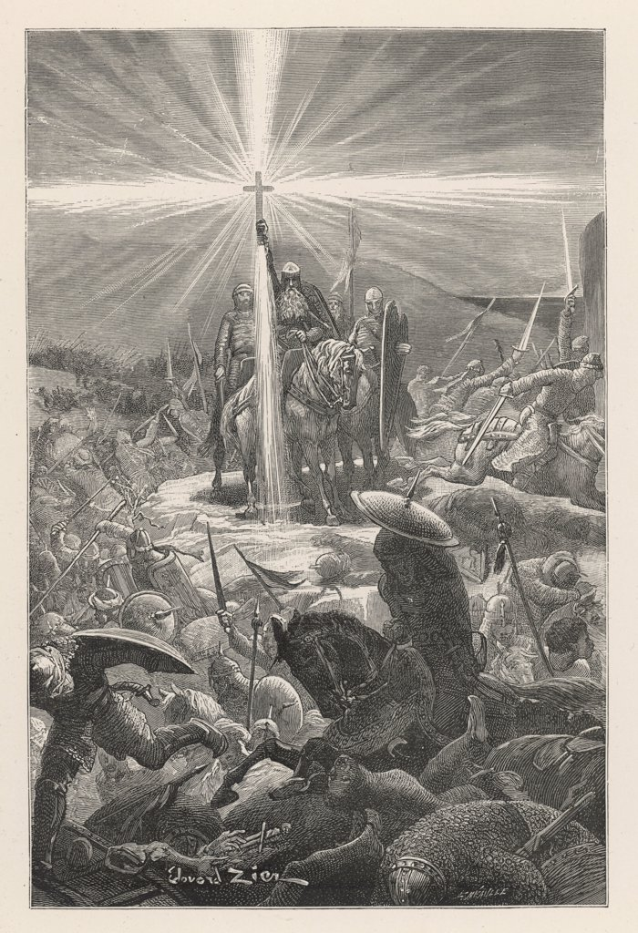 At the Battle of Aspremont, a  miraculous cross supports  Charlemagne. : Stock Photo